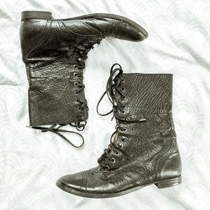 ZARA WOMAN • black leather lace up combat boots